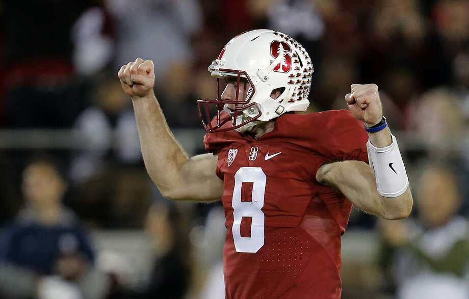 Stanford's quarterback Kevin Hogan, 8 celebrates a touchdown as Stanford went on to beat California 35-22 in the 118th Big Game at Stanford Stadium, on Sat. November 21, 2015, in Stanford, Calif. Photo: Michael Macor, The Chronicle