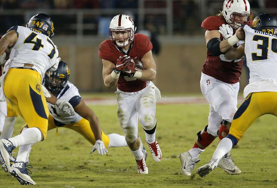 Stanford's Christian McCaffrey, 5 on a second half run, as Stanford beats California 35-22 in the 118th Big Game at Stanford Stadium, on Sat. November 21, 2015, in Stanford, Calif. Photo: Michael Macor, The Chronicle