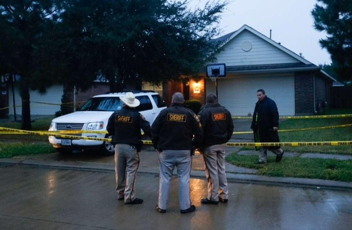 A manhunt and SWAT scene ended early Tuesday morning when a man killed himself after he shot another man to death and wounded a woman overnight at a home in Fort Bend County.