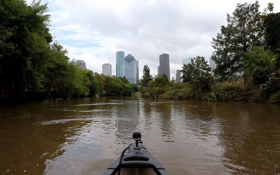 View of downtown from Buffalo Bayou Park. Photo: Elizabeth Conley, Houston Chronicle
