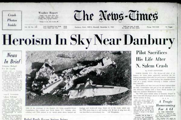 The front page of The News-Times, Monday, December 6, 1965, reporting the crash near Danbury of a Lockheed Constellation after a midair collision with an Eastern Airlines 707.