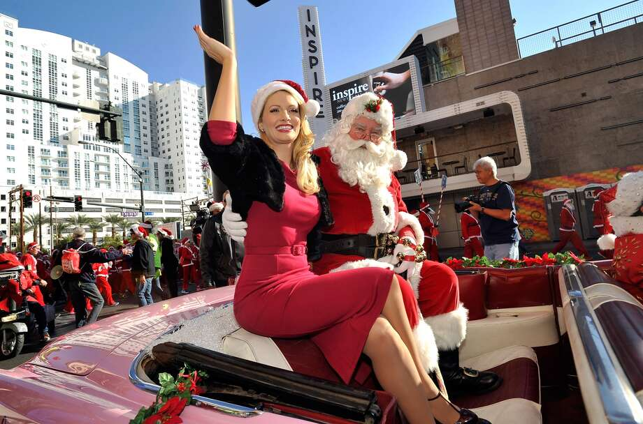 Holly Madison opts for a more vintage-inspired approach to her Santa fashion.
