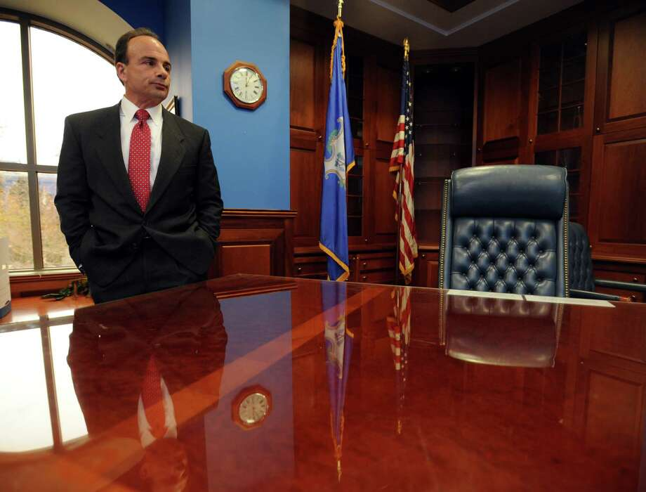 Bridgeport Mayor Joe Ganim looks around his new (and old) office in the Margaret E. Morton Government Center on Tuesday, the first day of his four-year term. Photo: Autumn Driscoll / Hearst Connecticut Media / Connecticut Post