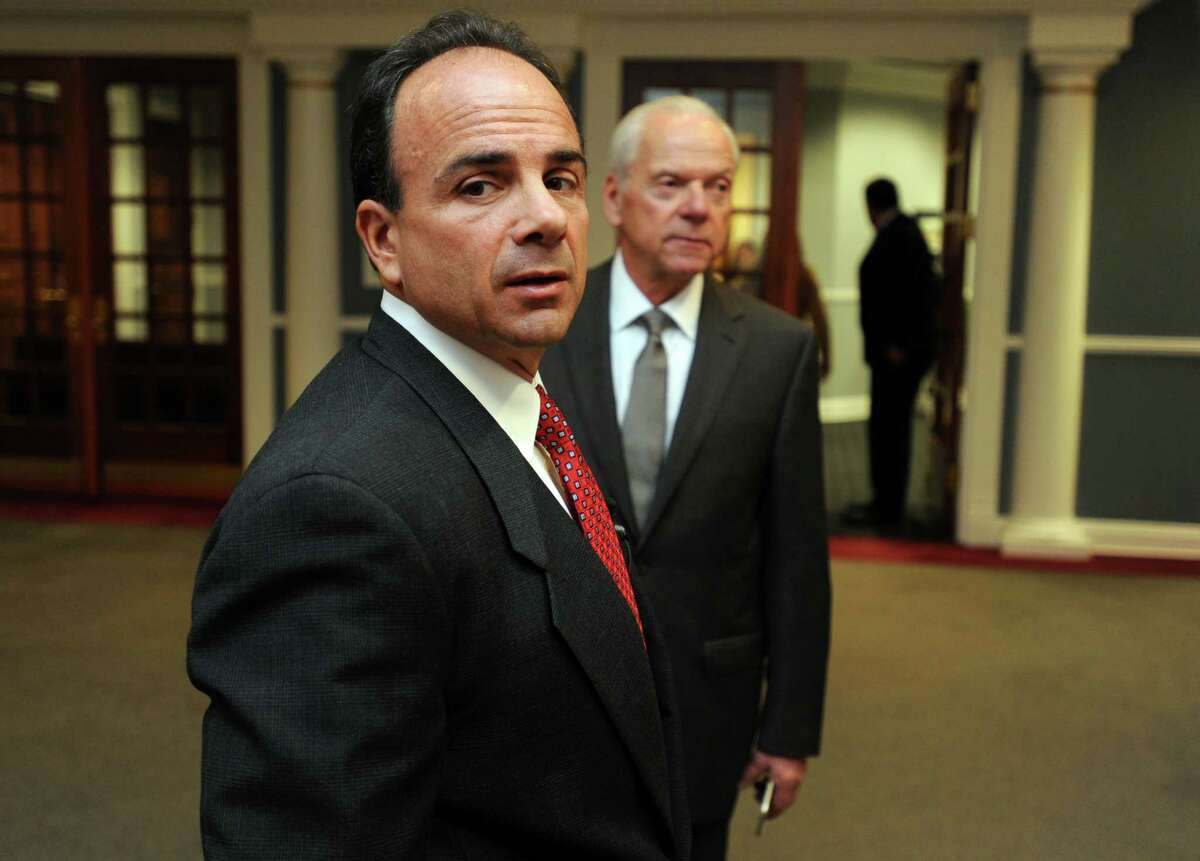 Bridgeport Mayor Joe Ganim settles in at the Margaret E. Morton Government Center on his first day in office Tuesday, Dec. 1, 2015. Mayor Ganim has appointed FBI Special Agent Edward Adams, right, as a senior adviser to the mayor and director of governmental accountability and integrity.