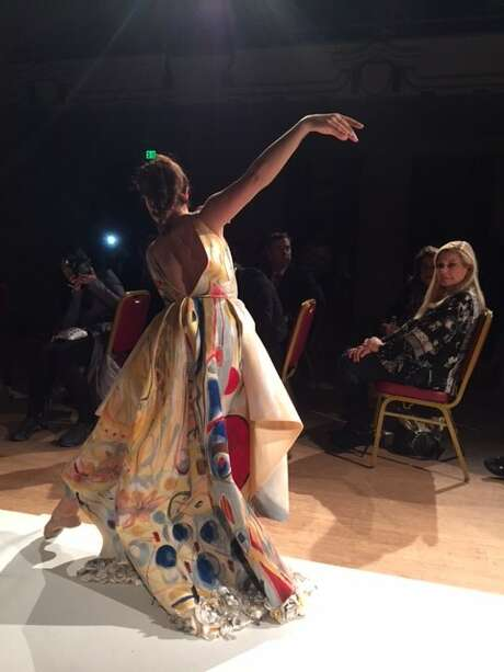 Model in gown by Tokyo Gamine at fashion show