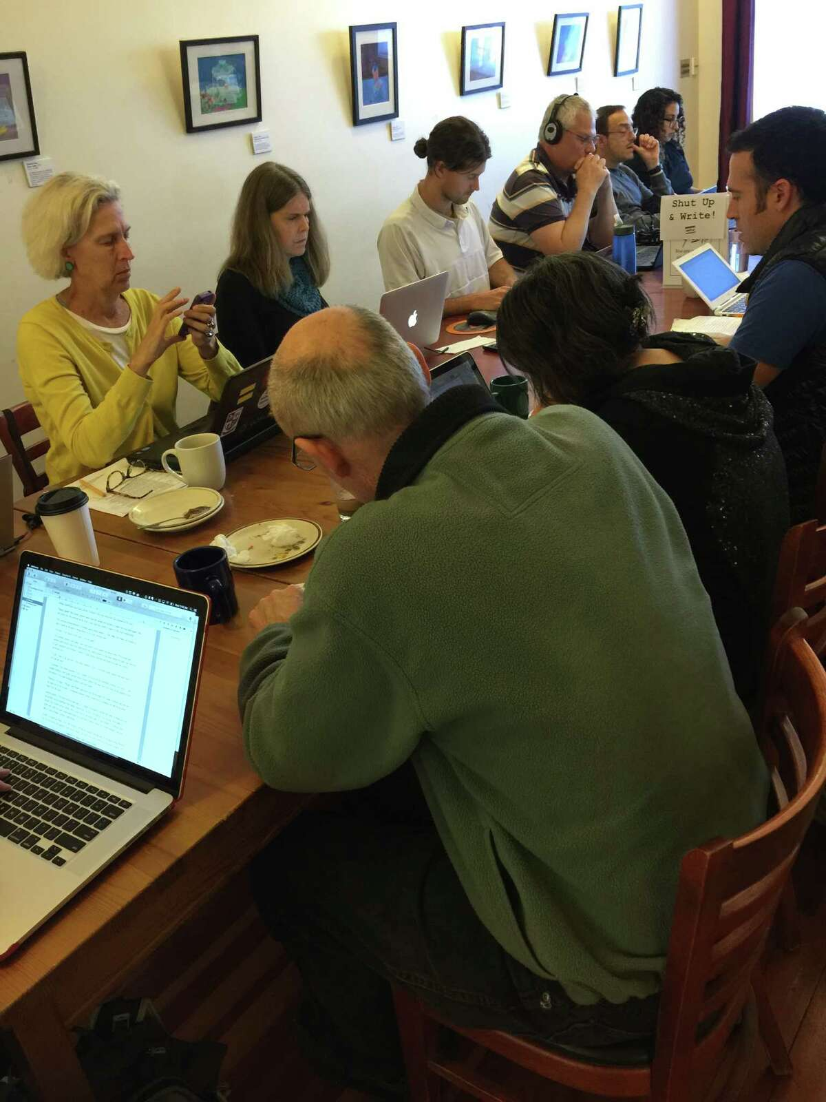 The Shut Up and Write crowd meets in a cafe