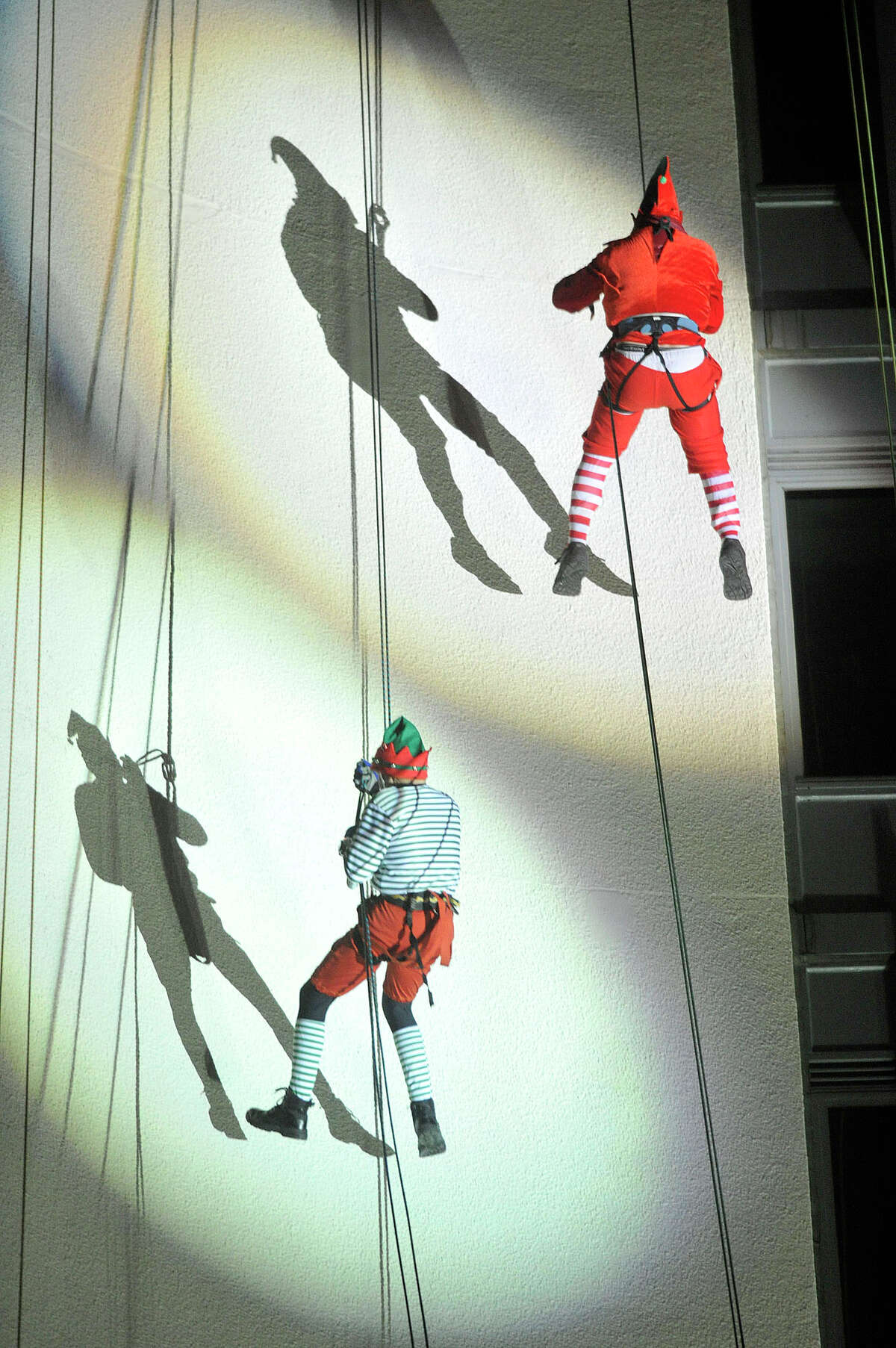 A scene from the 2014 Heights and Lights Rappel and Tree Lighting event in downtown Stamford. This year's event is Sunday Dec. 6 at 5 p.m.
