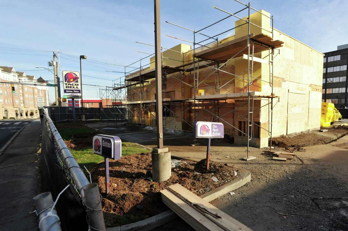 751 East Main St.: The Taco Bell building has been stripped and boarded up for renovation. The building will have the same look as new Taco Bells in the nation, including one that opened this year in Bridgeport. It will reopen in the spring.