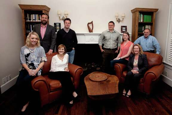 Members of the Irish Network Houston, from left, Aoibheann Hughes Elder, Chris Bohill, Edel Howlin, Eddie Kelleher, Brendan Sullivan, Kate Corrigan, Karen Down and David Millar on Monday, April 20, 2015. (Bob Levey/For the Chronicle)