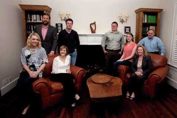 Members of the Irish Network Houston, from left, Aoibheann Hughes Elder, Chris Bohill, Edel Howlin, Eddie Kelleher, Brendan Sullivan, Kate Corrigan, Karen Down and David Millar on Monday, April 20, 2015. (Bob Levey/For the Chronicle)