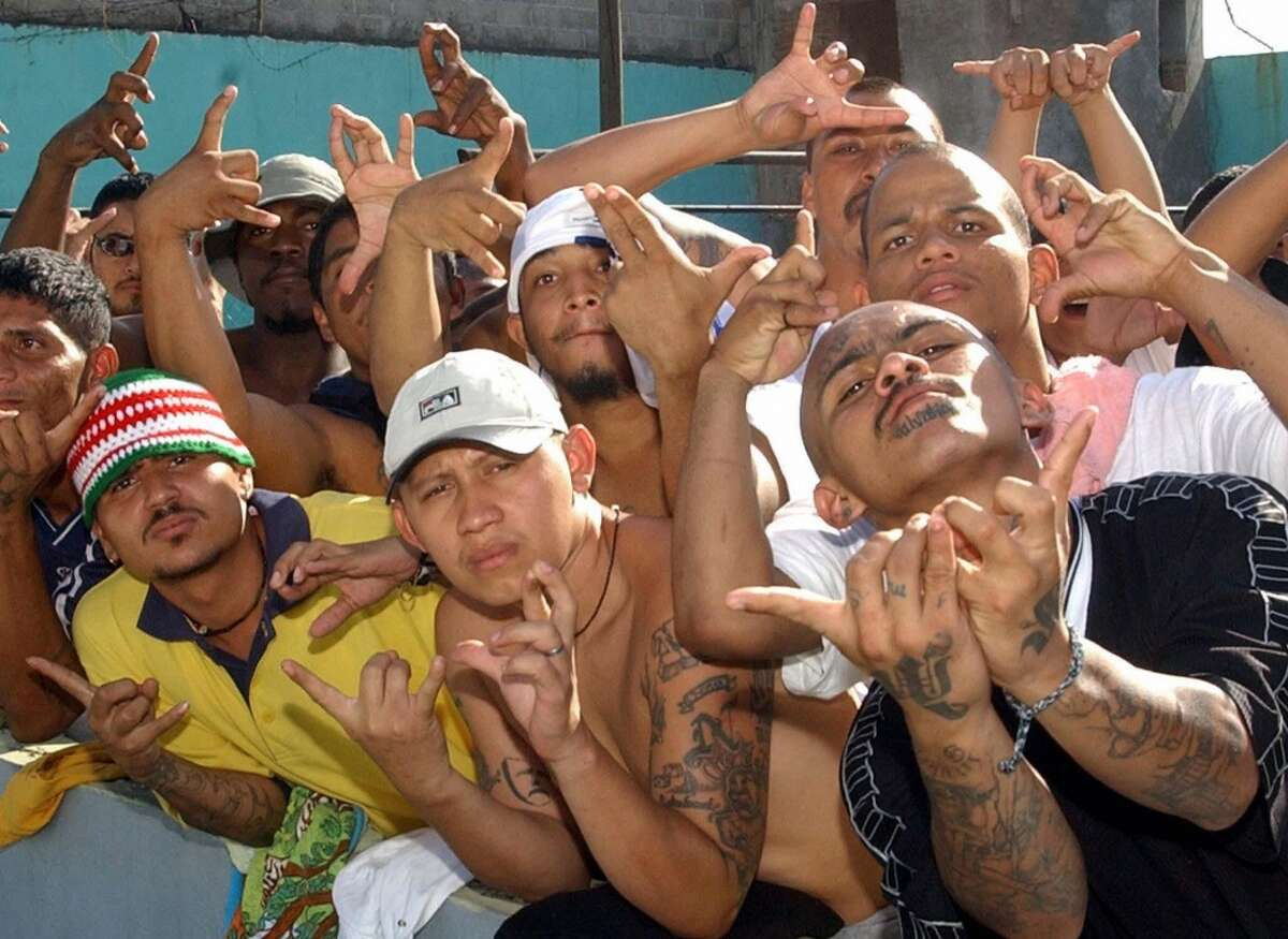 Mara 18 Members of the Mara 18 gang, make gestures at the prison of San Pedro Sula, Honduras, 26 March 2005. Violence from street gangs, known in the region as
