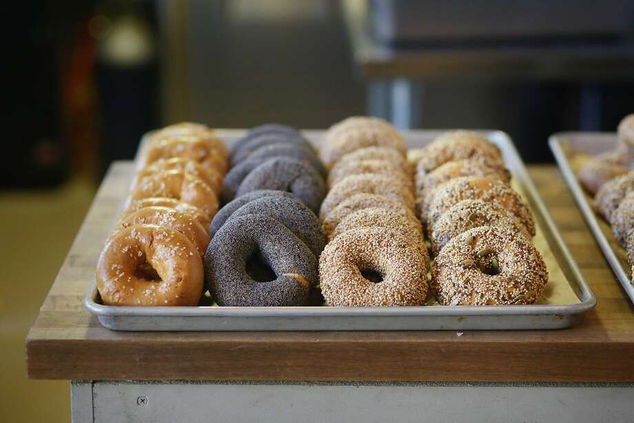 A variety of bagels (salted {l to r}, poppy seed, sesame and everything) sit on a tray on a counter at Marla Bakery on Tuesday, December 1,  2015 in San Francisco, Calif. Photo: Lea Suzuki, The Chronicle