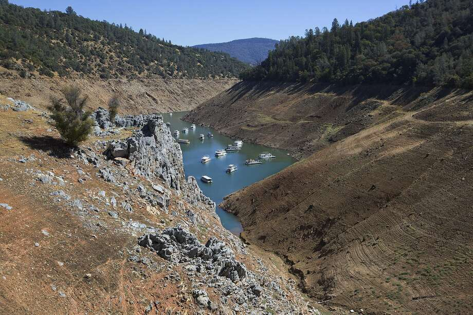 Water levels have dropped at Lake Oroville, in Northern California, to near record lows, meaning less water for the state to provide to customers. Photo: Ruth Fremson, New York Times
