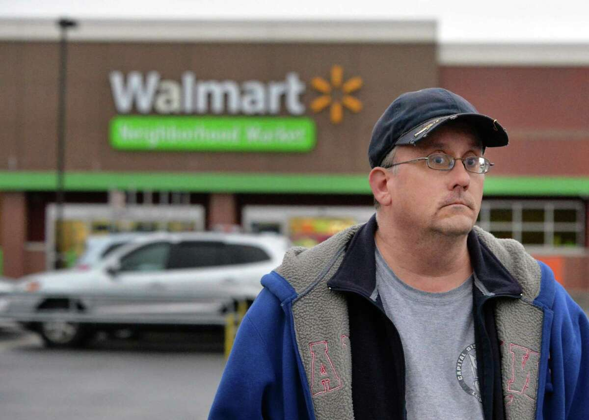 Michael Walsh of Schenectady outside the Niskayuna Walmart Tuesday Dec. 1, 2015 in Niskayuna, NY. (John Carl D'Annibale / Times Union)
