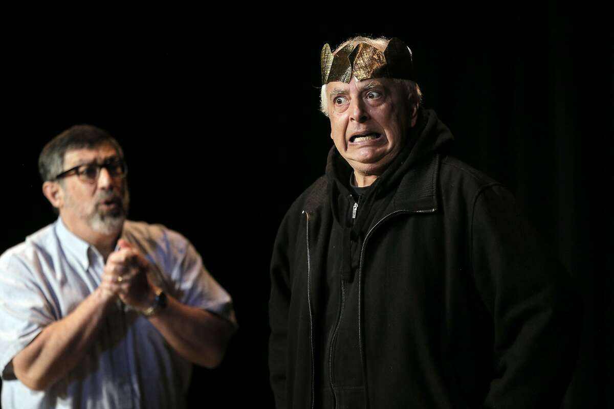 Steve Walton, left, and Bill Ontiveros in their performance as they and former students of Woodside High School drama teacher George Ward, gathered at Gunn High School in Palo Alto, Calif., to fete the beloved teacher on Sunday, November 29, 2015. The event was performed as a mock tryout by those students who flew in from all over the country.