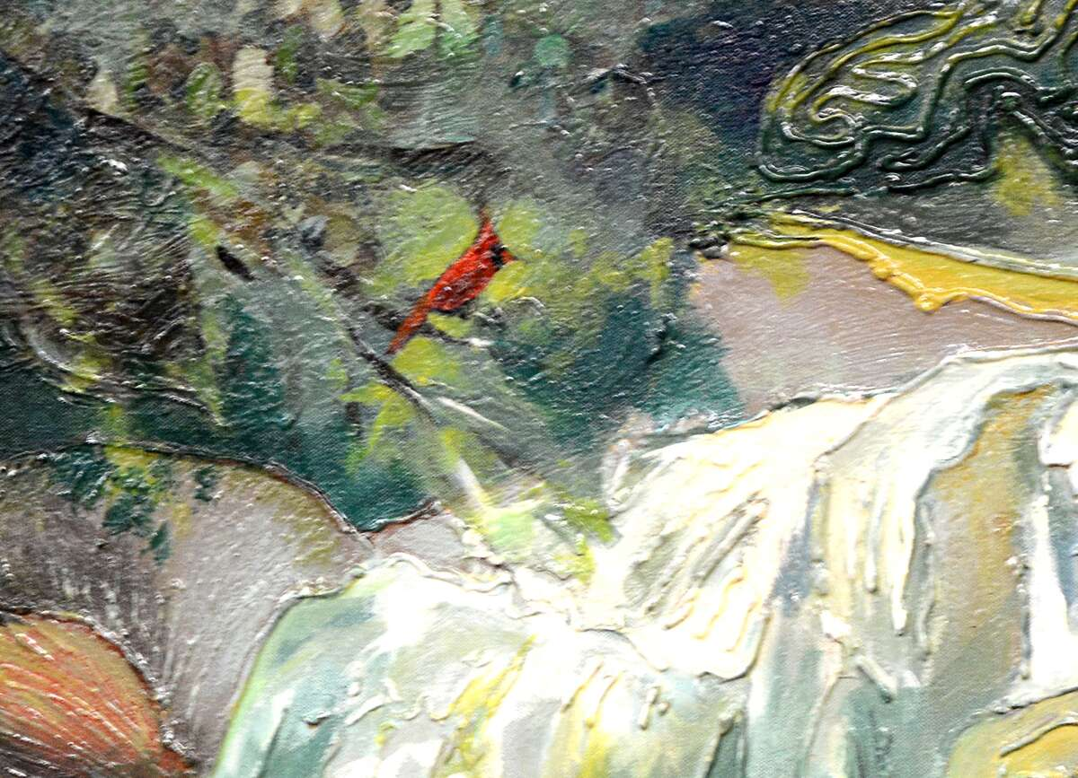 The painting made by juveniles at the MoCo Juvenile Justice Center and donated to Judge Mary Ann Turner's County Court at Law #4 courtroom, 210 W. Davis Street in downtown Conroe. Judge Turner painted a red bird into the painting in honor of her mother. Photograph by David Hopper