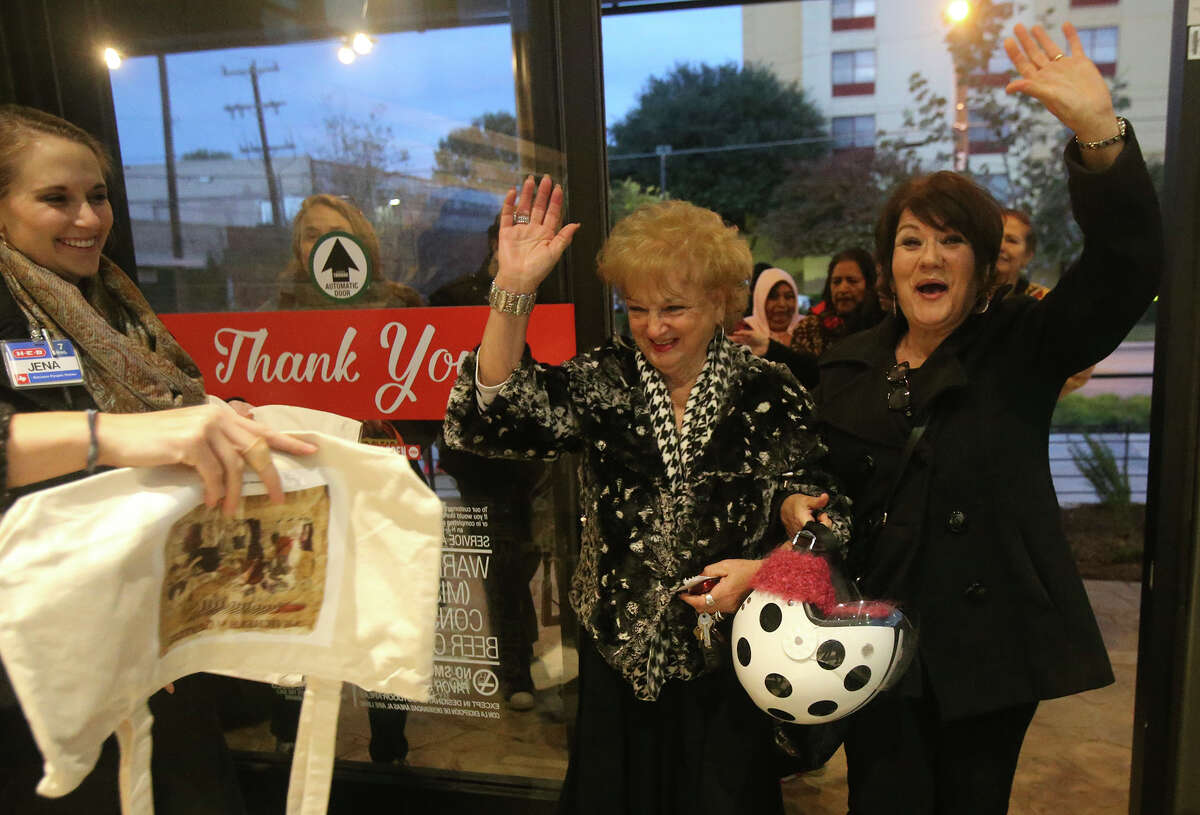The new South Flores H-E-B Market store at the corner of Cesar Chavez and South Flores in downtown San Antonio, Texas opened at 7:00 a.m. Wednesday December 2, 2015. Downtown San Antonio residents Madeline Martino (center) and Nita Shaver (right) were the first customers to enter the new store.
