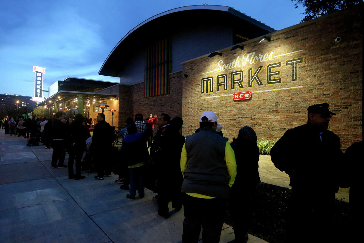 The new South Flores H-E-B Market store at the corner of Cesar Chavez and South Flores in downtown San Antonio, Texas opened at 7:00 a.m. Wednesday December 2, 2015.