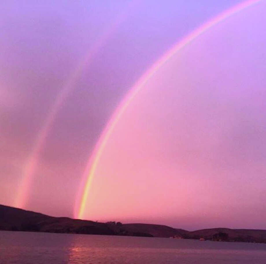 The sunrise double rainbow from Shannon Gregory this morning. (instagram.com/thewestmarinfeed) Photo: Courtesy Photo