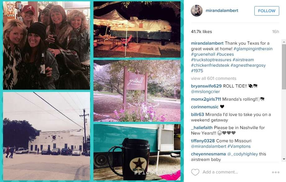 "Miranda Lambert enjoyed the comforts of Texas this weekend in New Braunfels with ""glamping,"" Buc-ee's and chicken fried steak."