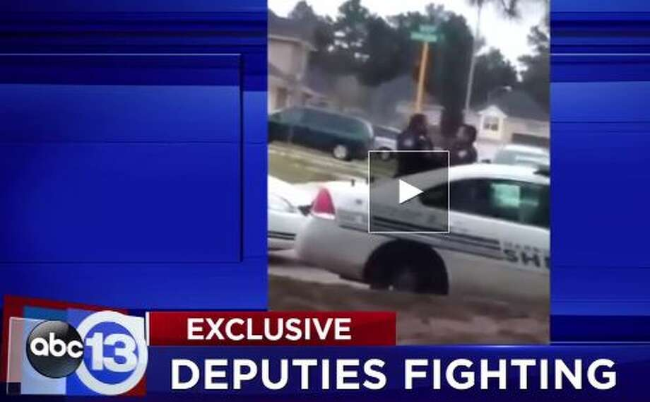 A cellphone video captured this recent shoving match between two Harris County Sheriff's Office deputies, Dec. 2, 2015. (Screen grab via KTRK)Click through these photos to see other examples of questionable police behavior.