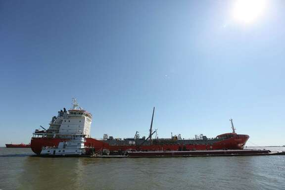 A chemical tanker in Galveston Bay Tuesday, Nov. 10, 2015, in Galveston. ( Elizabeth Conley / Houston Chronicle )