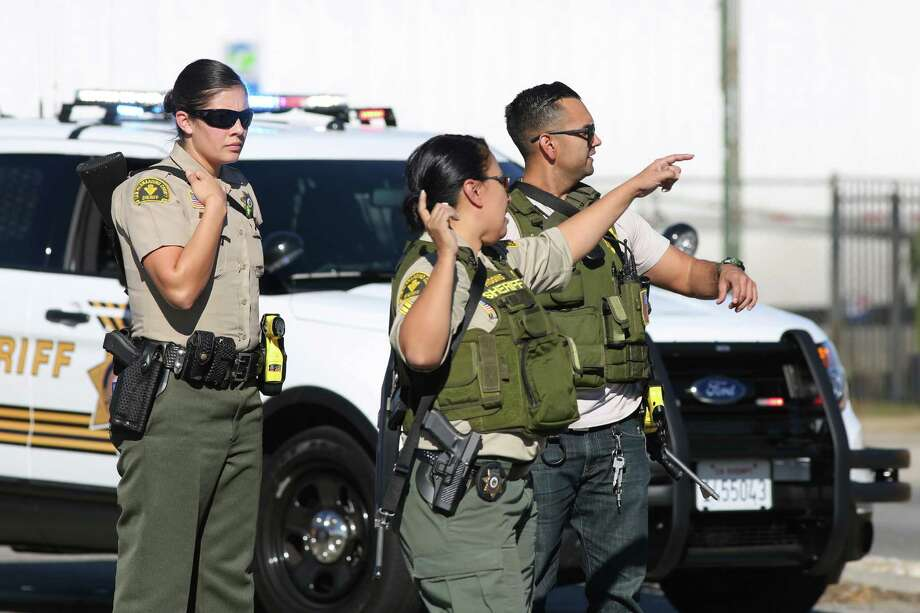 San Bernardino County Sheriff's deputies respond to a mass shooting at the Inland Regional Center Dec. 2, 2015, in San Bernardino, Calif.  Photo: David McNew, Getty Images / 2015 Getty Images