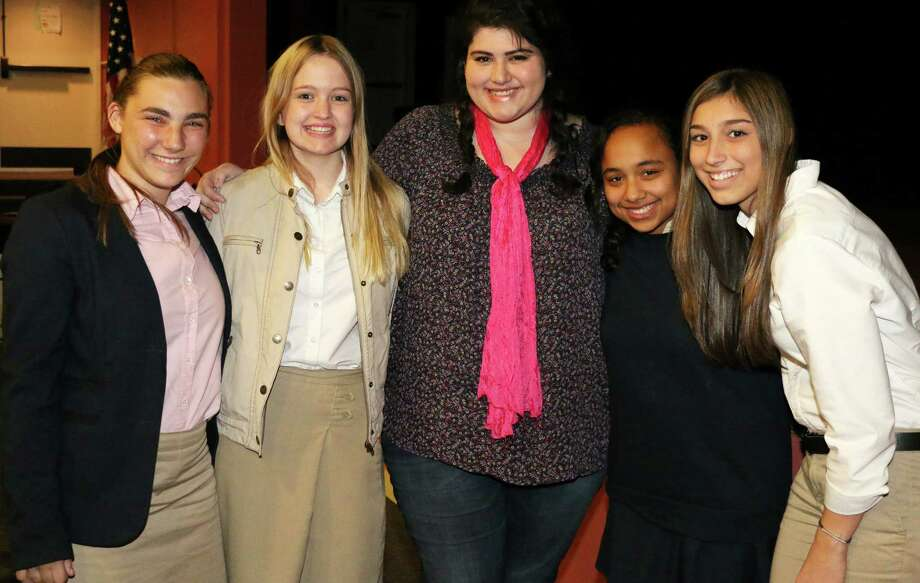 New Milford resident Ally Del Monte recently visited Glenholme School in Washington for National Bullying Prevention Month. The nationally recognized teen spoke about her experiences being bullied and her mission to inspire young people with her #BeBrave campaign. Above, Del Monte, center, is shown with, from left to right, are Jiliann Miller, Courtney Hynes, Lia Osterman and Cassidy Seaver during the October 2015 program. Photo: Courtesy Of Glenholme School / The News-Times Contributed