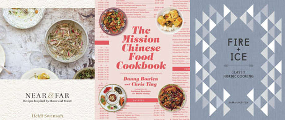 """Near & Far: Recipes Inspired by Home and Travel,"" ""The Mission Chinese Food Cookbook"" and ""Fire + Ice: Classic Nordic Cooking."""