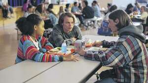(L to R): Amandla Stenberg (Lead Actor - Sarah), Charlie Heaton (Lead Actor - Mark), Owen Campbell (Lead Actor - Jack) during the lunchroom scene at the former Bishop Maginn High School. (Photo courtesy Youth FX) ORG XMIT: MER2015100215252951