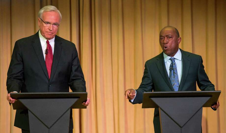 Mayoral candidates Bill King (left) and Sylvester Turner (right) couldn't be more different. See where they both stand on Houston's major issues. Photo: Brett Coomer, Houston Chronicle / © 2015 Houston Chronicle