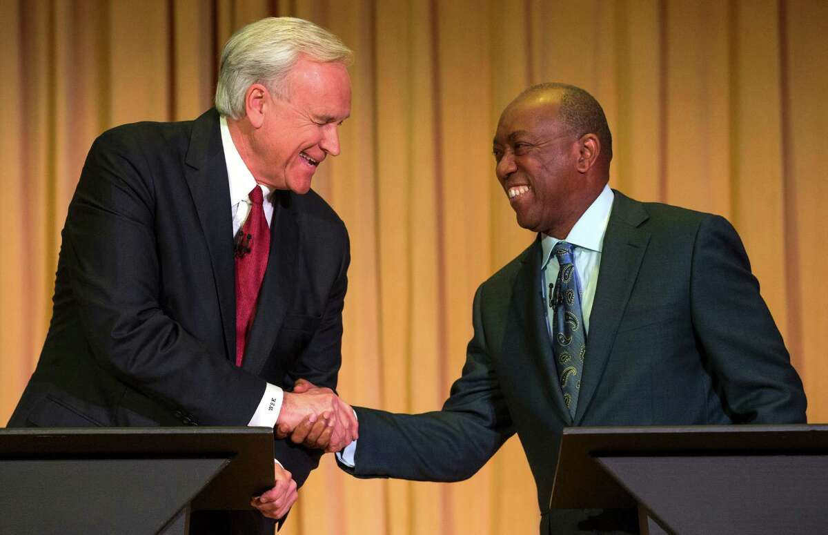 Mayoral candidates Bill King, left, and Sylvester Turner face off in a mayoral debate at the University of Houston-Downtown on Wednesday, Dec. 2, 2015, in Houston. Mayor Annise Parker is set to endorse Turner as her successor.