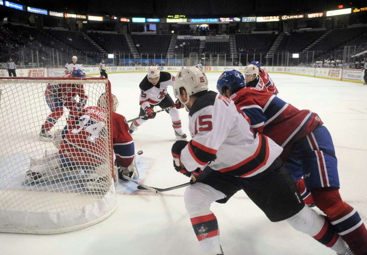 The Devils threaten but do not score on this series against the St. John's IceCaps in hockey action at the Times Union Center on Wednesday Dec. 2, 2015 in Albany, N.Y. (Michael P. Farrell/Times Union)