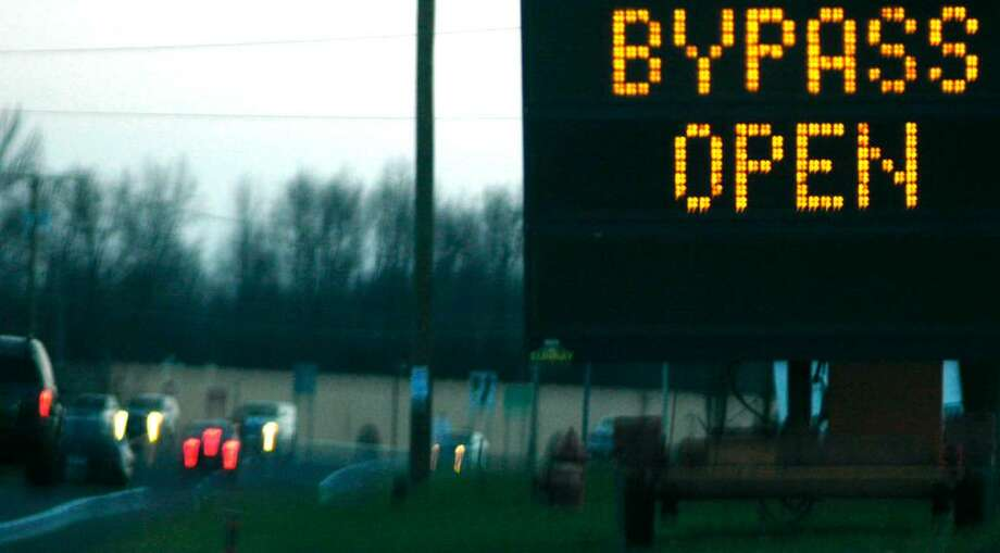 Signs alert motorists approaching the new Route 7 bypass from both the New Milford and Brookfield directions. The bypass opened November 2009 Photo: File Photo / The News-Times File Photo