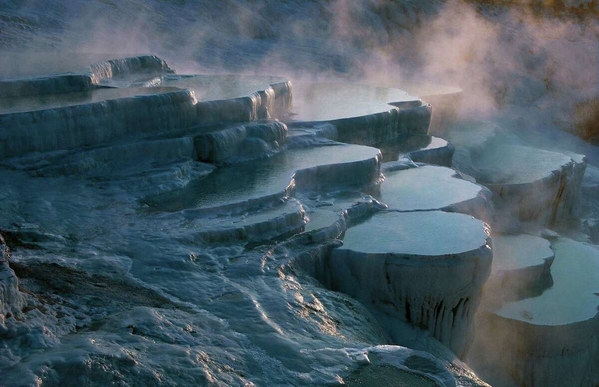 Layers of limestone and travertine, hot springs of Pamukkale, Turkey