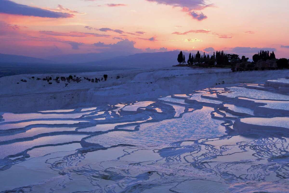 Pamukkale travertines at sunset in Turkey