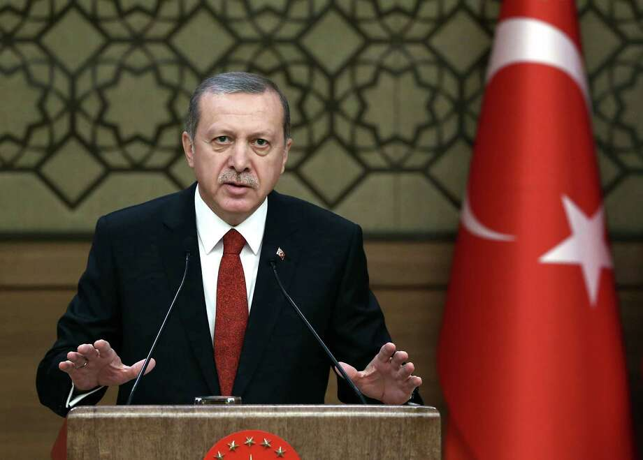 """Turkey's President Recep Tayyip Erdogan addresses a meeting in Ankara, Turkey, Dec. 3, 2015. Russia's President Vladimir accused Turkey of a """"treacherous war crime"""" in downing a Russian jet at the border with Syria. The nation is also deeply involved in Iraq, and its cease-fire with domestic Kurdish rebels has broken down. Photo: Yasin Bulbul, AP / Pool Presidential Press Service"""