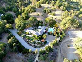 A bird's eye view of 76 Bridgegate Dr. in San Rafael, a five-bedroom gated home available for $3.95 million.
