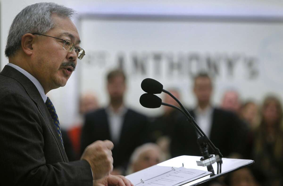 Mayor Ed Lee announces the creation of a new city department which will unify the multitude of homeless services under one umbrella, during a news conference at St. Anthony's in San Francisco, Calif. on Thursday, Dec. 3, 2015. The mayor hopes to bring 8,000 out of homelessness by the end of his mayoral term.