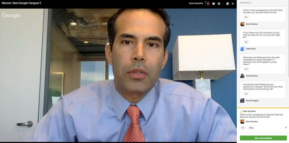 Texas Land Commissioner George P. Bush speaks to supporters of father Jeb Bush's presidential campaign during a private video conference call Wednesday, Dec. 2, 2015. (Screenshot by Brian M. Rosenthal/Houston Chronicle)
