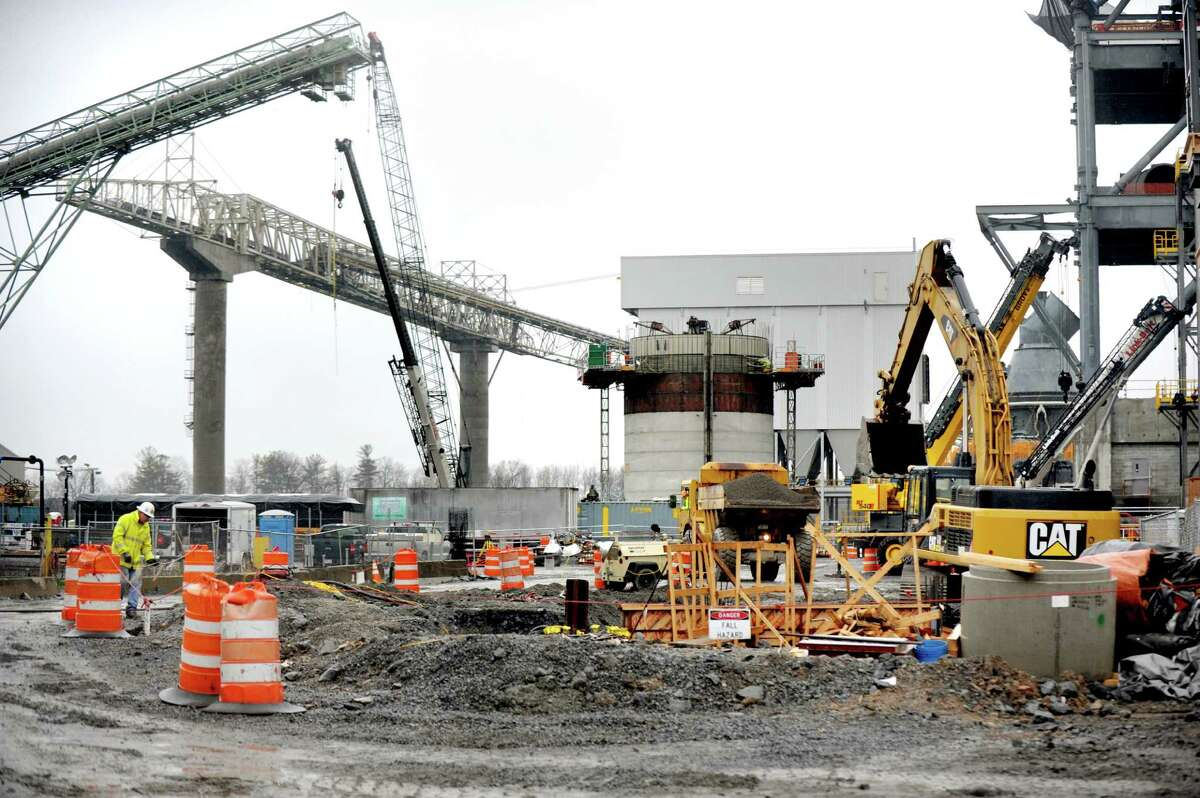 Wet gas scrubber, center, is part of the cement plant expansion that's under construction on Wednesday, Dec. 2, 2015, at Lafarge in Ravena, N.Y. (Cindy Schultz / Times Union)