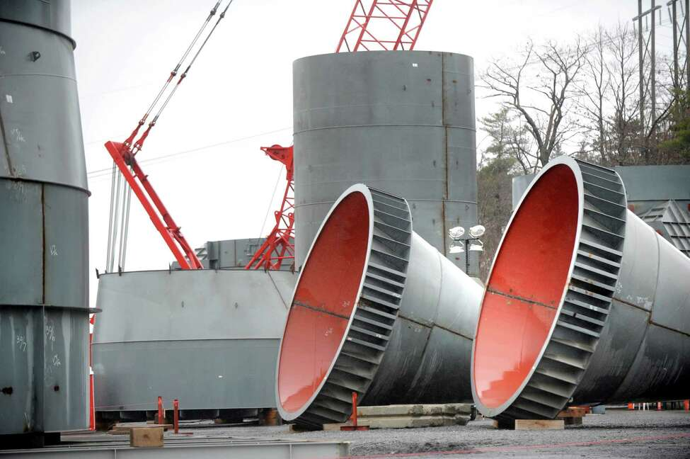 Cyclone parts, right, that will transfer heat in the pre-heater tower, are on hand for installation as part of the cement plant expansion on Wednesday, Dec. 2, 2015, at Lafarge in Ravena, N.Y. (Cindy Schultz / Times Union)