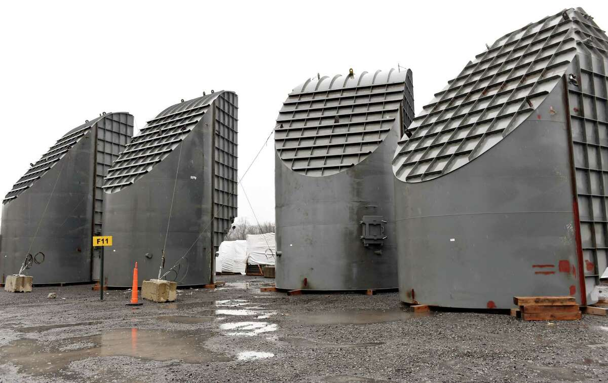 Gas ducts await assembling as part of the cement plant expansion on Wednesday, Dec. 2, 2015, at Lafarge in Ravena, N.Y. (Cindy Schultz / Times Union)