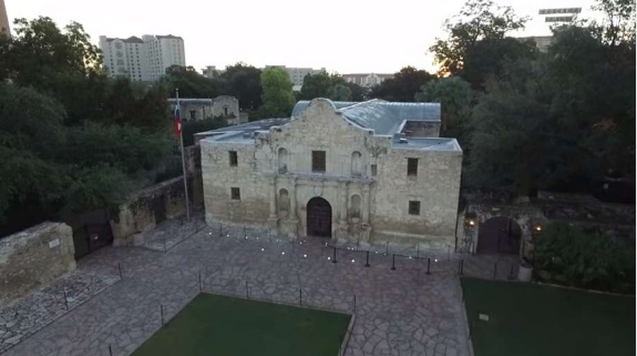 The Texas General Land Office released drone footage of the Alamo and its surrounding area after announcing the purchase of three buildings on the west side of Alamo Plaza on Wednesday, Dec. 2, 2015. Photo: YouTube Screenshots/Texas General Land Office