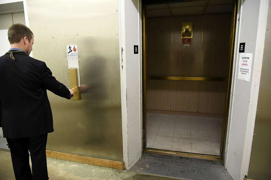 An out of service elevator is seen on the basement level at the Hall of Justice in San Francisco, CA Thursday, December 3, 2015. Photo: Michael Short, Special To The Chronicle