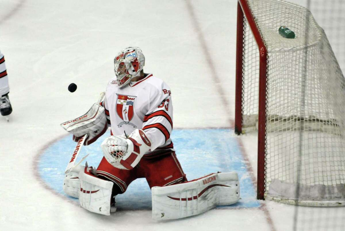 RPI's Jason Kasdorf makes a save during their game against Boston College on Sunday, Oct. 11, 2015, in Troy, N.Y. (Paul Buckowski / Times Union)