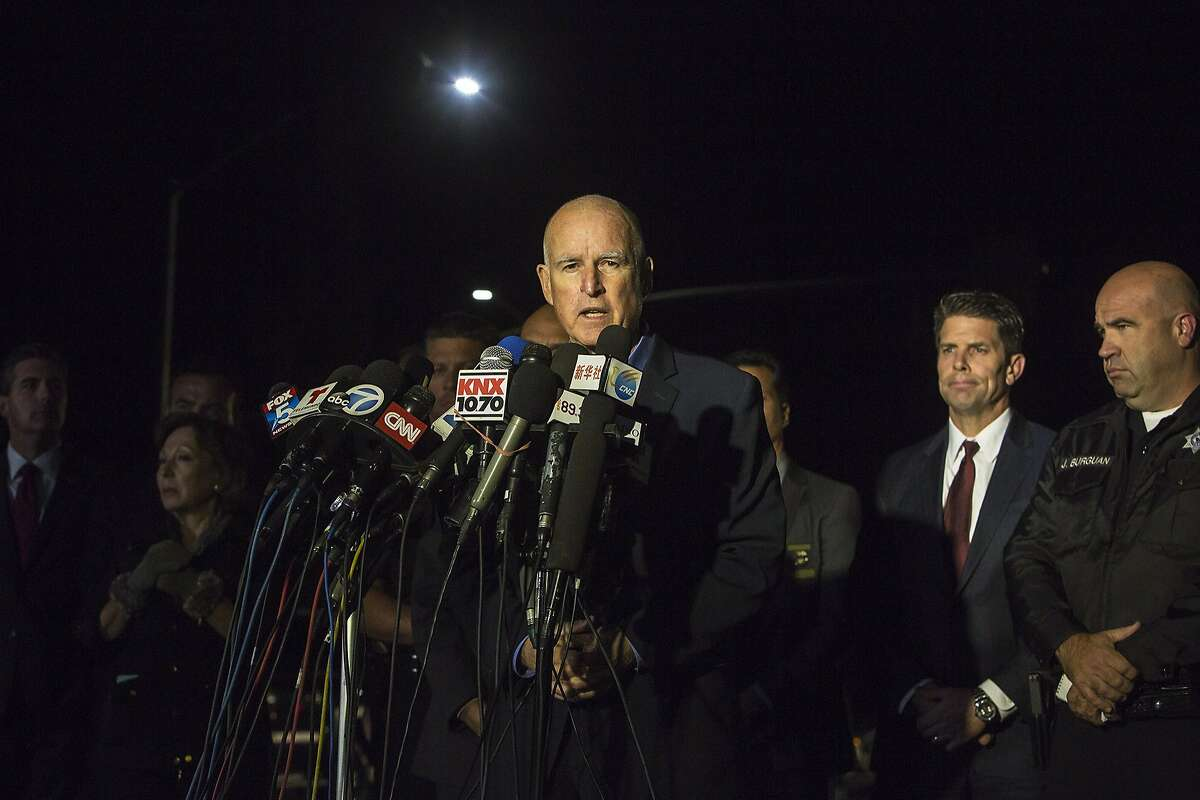 Day 2. California Governor Jerry Brown speaking at a press conference. Shooting in San Bernardino. Up to three shooters open fired at a government building in San Bernardino. Unknown casualties, several expected dead.