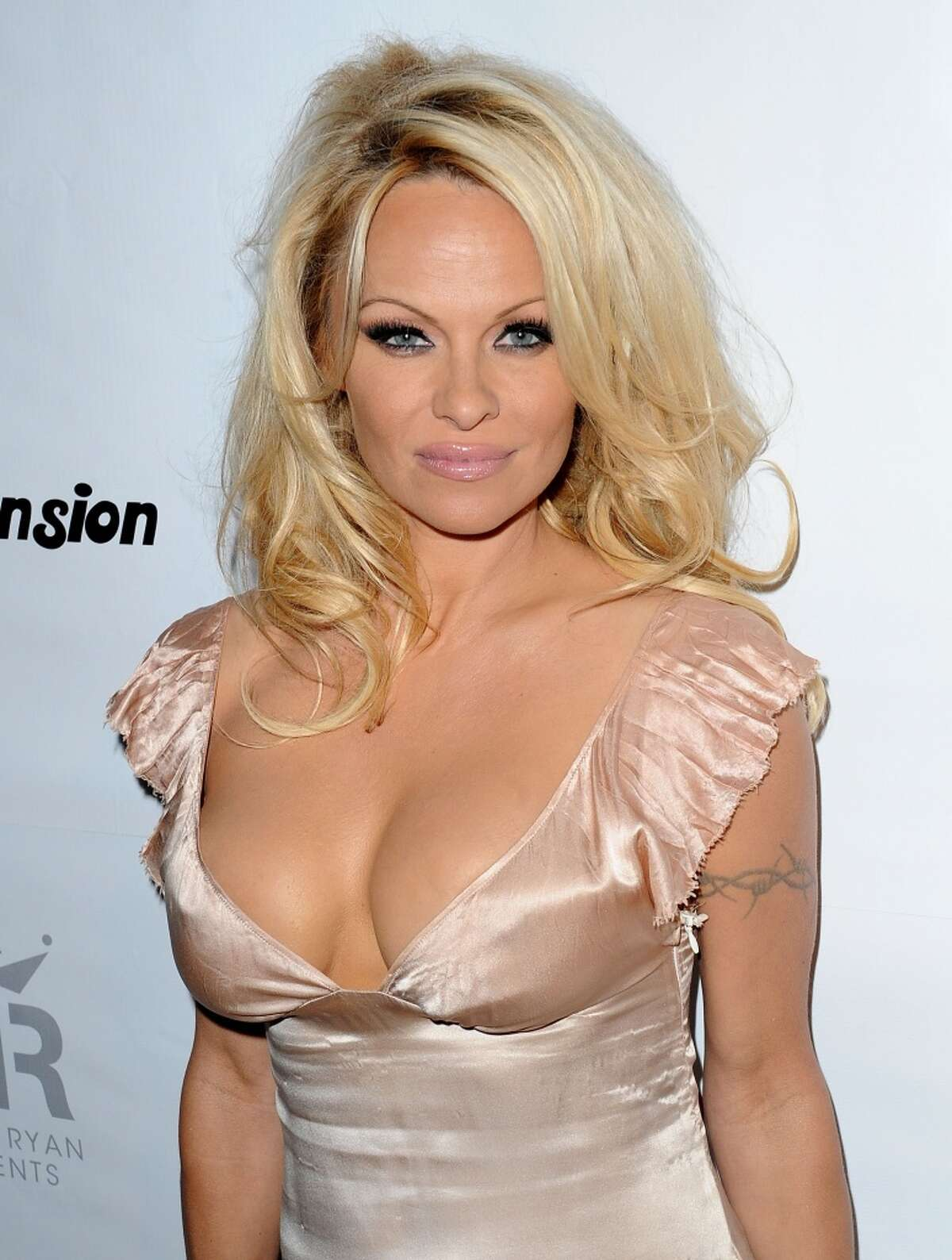 Pamela Anderson at The Playboy Mansion on February 12, 2012 in Beverly Hills, California.