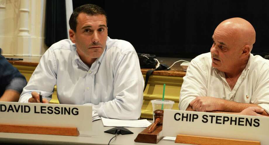 Republican Chip Stephens, right, was re-elected chairman of the Planning and Zoning Commission during a contentious meeting where Democrats nominated David Lessing, left, instead. In the end, however, Lessing was named vice chairman. Photo: Jarret Liotta / For Hearst Connecticut Media / Westport News