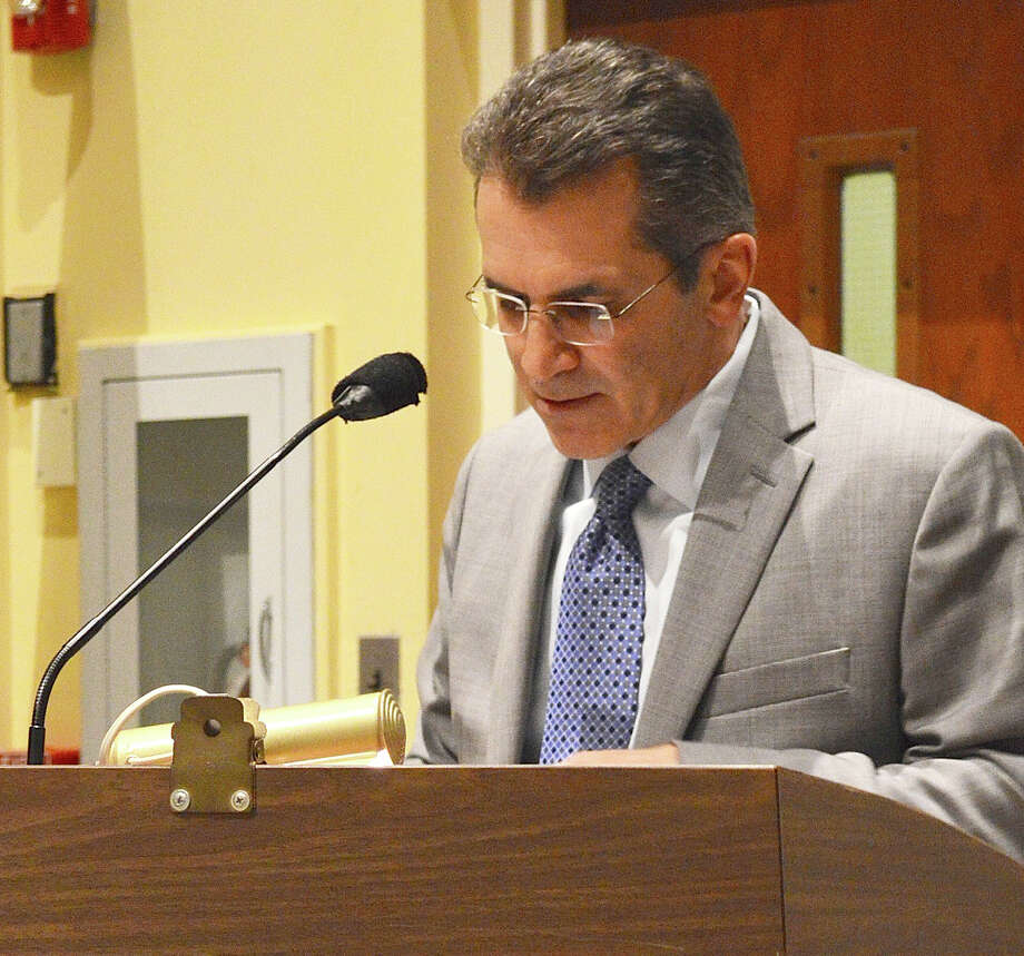 Assessor Paul Friia outlines new assessment figures for the Board of Finance on Wednesday night. Photo: Jarret Liotta / For Hearst Connecticut Media / Westport News